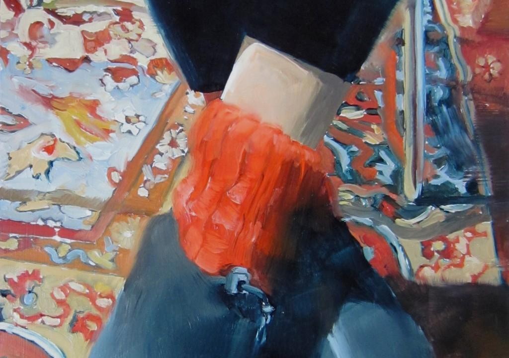 N. Haefeli Ohne Titel (Sittenbild)Ausschnitt, u00D6l auf Holz, 33x24cm, 2013